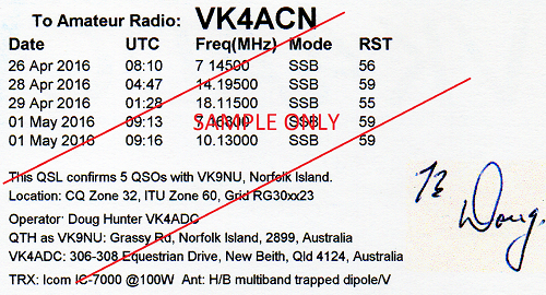 VK9NU QSL card back, sample data
